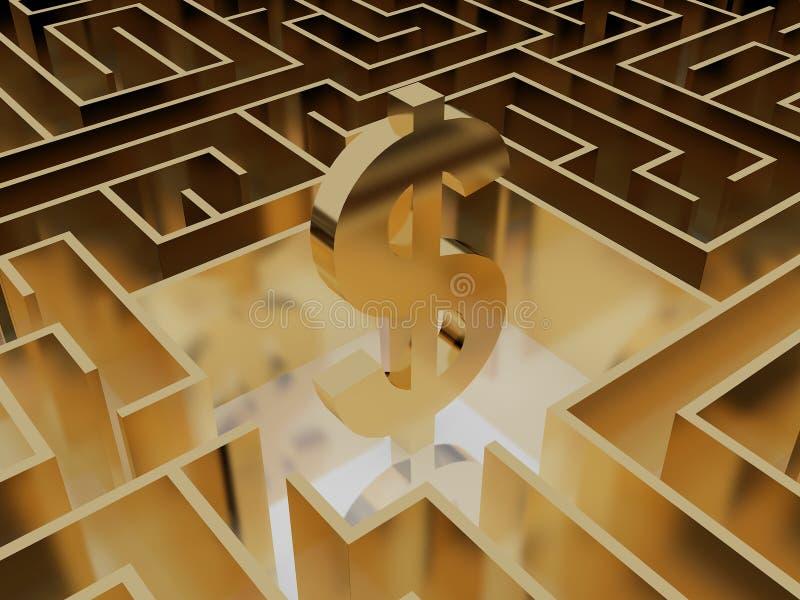 Symbole dollar d'or au milieu d'un labyrinthe mystérieux illustration stock