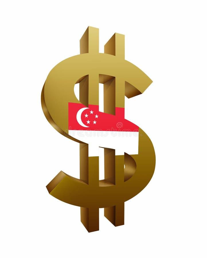 Symbole dollar/symbole d'or avec le drapeau de Singapour d'isolement à l'arrière-plan blanc illustration libre de droits