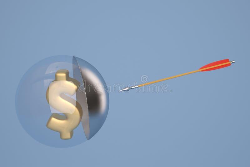 Symbole dollar d'or dans la boule en verre et la flèche illustration 3D illustration stock
