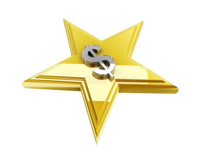 Symbole dollar dans la forme d'étoile illustration libre de droits