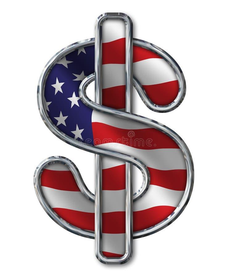 Symbole dollar de Chrome avec le drapeau sur le blanc images stock
