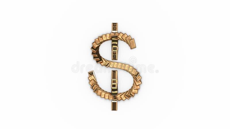 Symbole dollar de domino illustration libre de droits