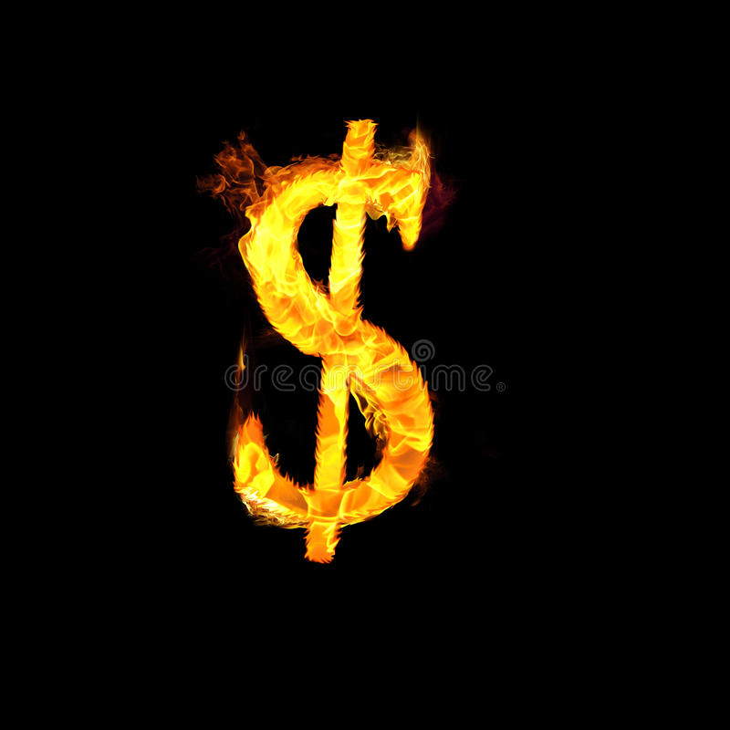 Symbole dollar en flammes illustration stock