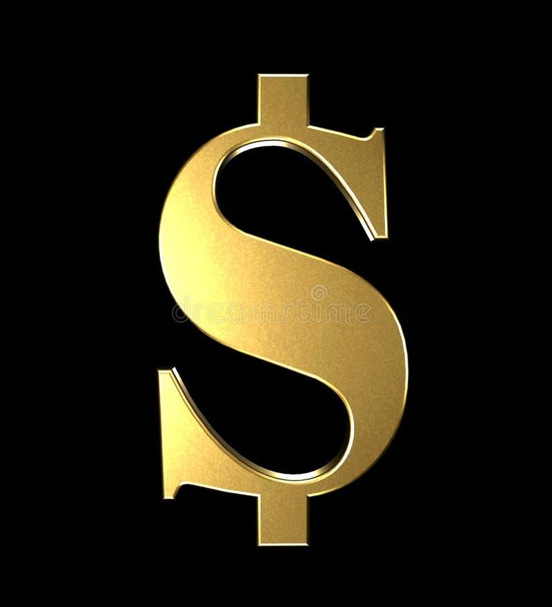symbole dollar mignon en métal de l'or 3d avec la bande dessinée comique et le rendu matériel d'or brillant de fond noir de nombr illustration stock