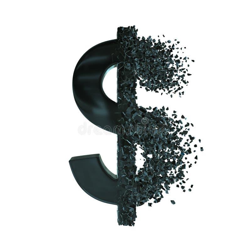 Symbole dollar rompu 3d illustration libre de droits