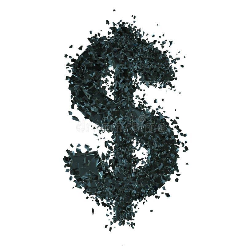 Symbole dollar rompu 3d illustration stock