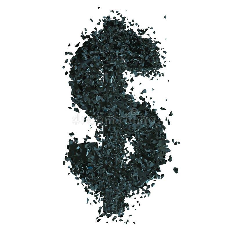 Symbole dollar rompu 3d illustration de vecteur