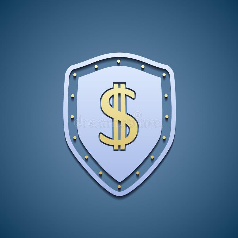 Symbole dollar sur un bouclier illustration stock