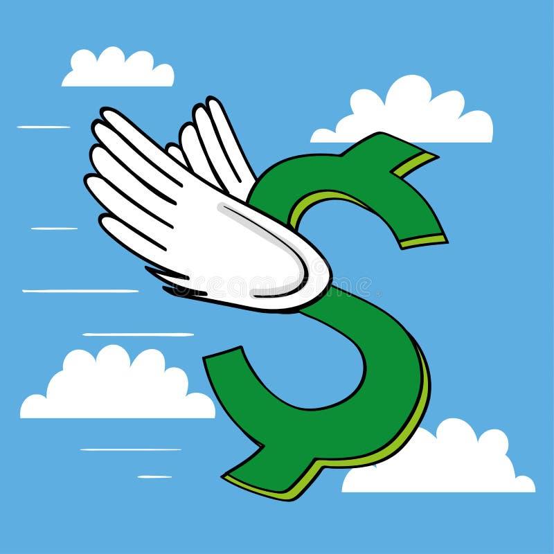 Symbole dollar volant haut illustration de vecteur