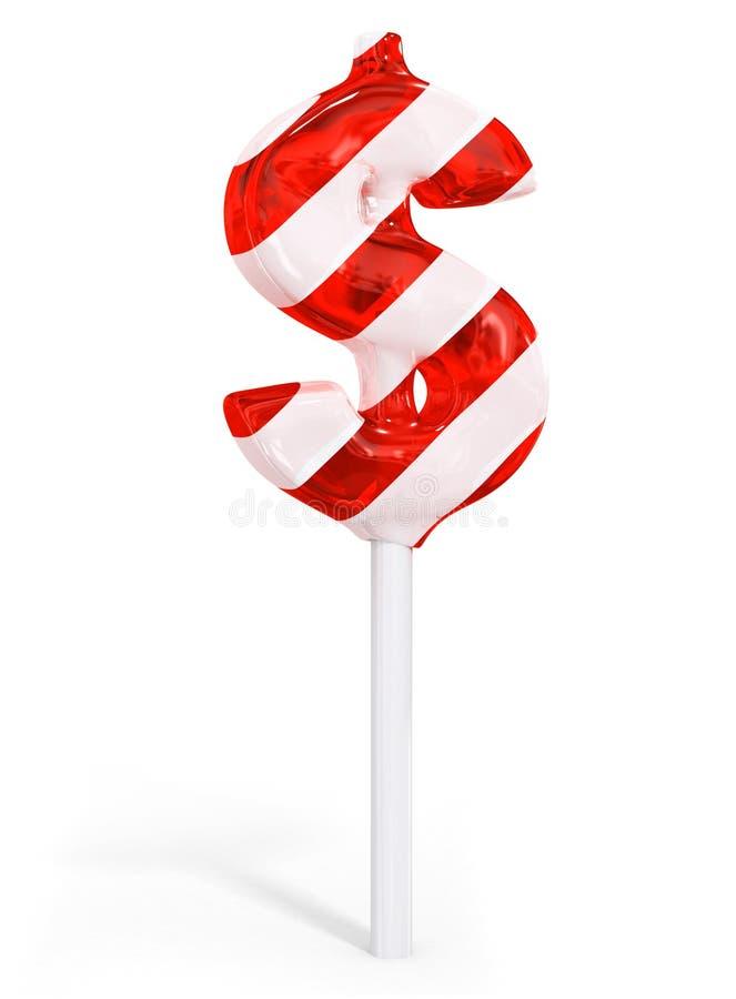 Symbole doux d'argent d'affaires du dollar de sucrerie illustration de vecteur