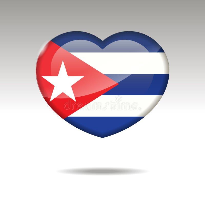 Symbole du CUBA d'amour Icône de drapeau de coeur illustration de vecteur