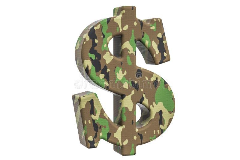 Symbole du dollar d'armée de camouflage, rendu 3D illustration libre de droits