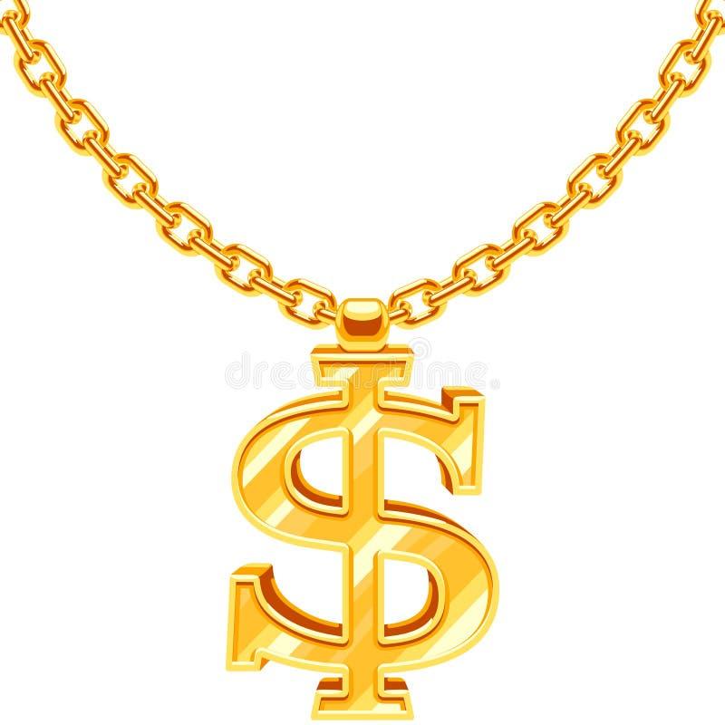 Symbole du dollar d'or sur le collier de style de coup sec et dur d'houblon de hanche de vecteur de chaîne d'or illustration stock