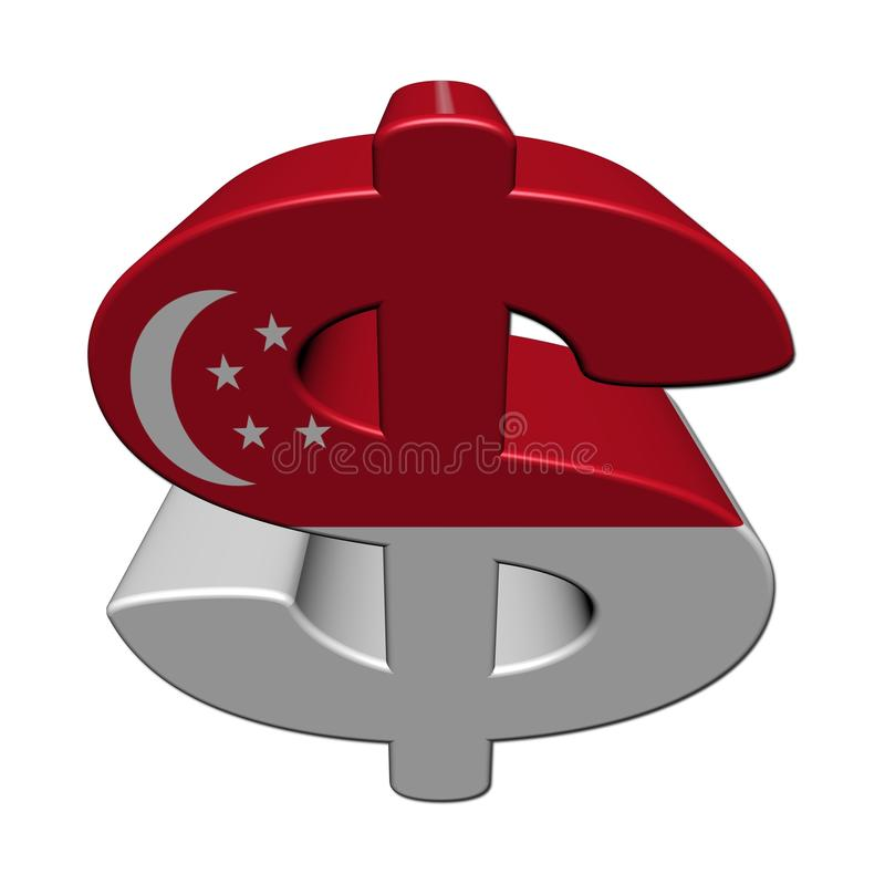 Symbole du dollar de Singapour avec l'indicateur illustration libre de droits