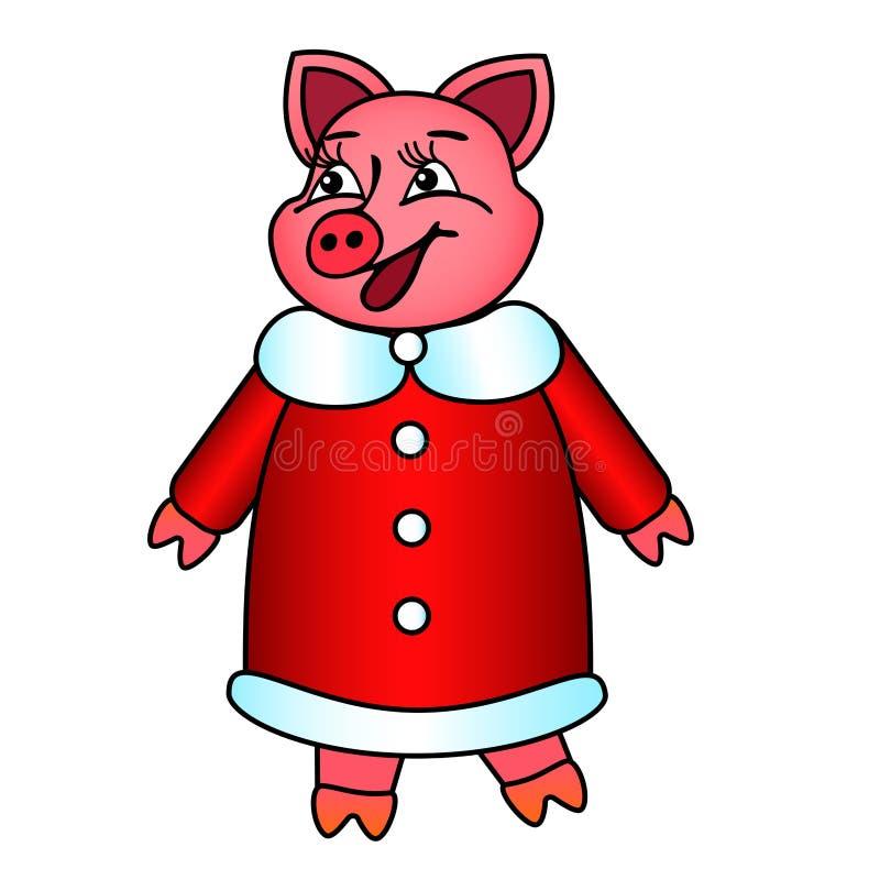 Symbole du porc d'année dans l'isolat de sourire de manteau de fourrure rouge du ` s de nouvelle année illustration stock
