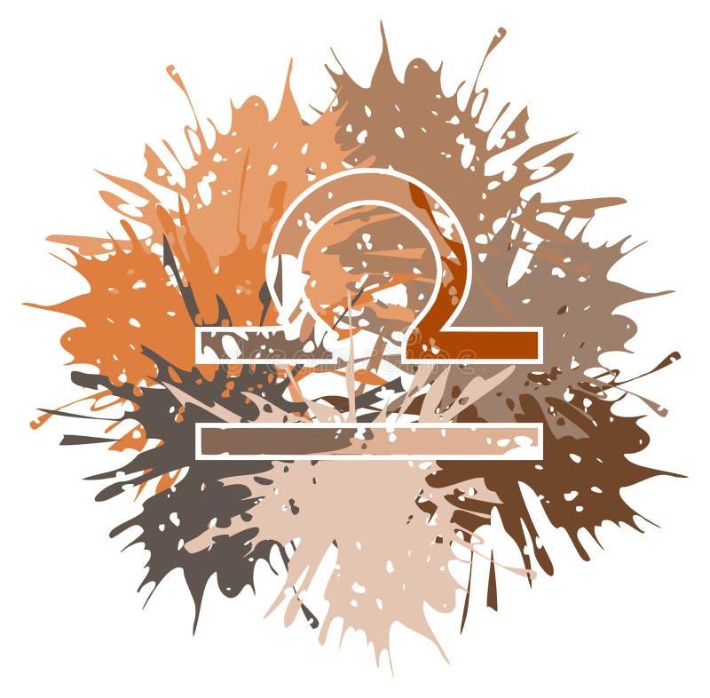 Symbole du signe de zodiaque de Balance fait avec des taches illustration stock