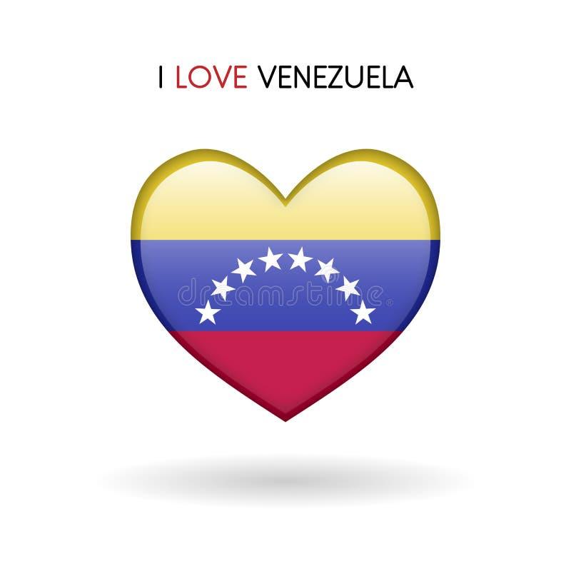 Symbole du Venezuela d'amour Marquez l'icône brillante de coeur sur un fond blanc illustration de vecteur