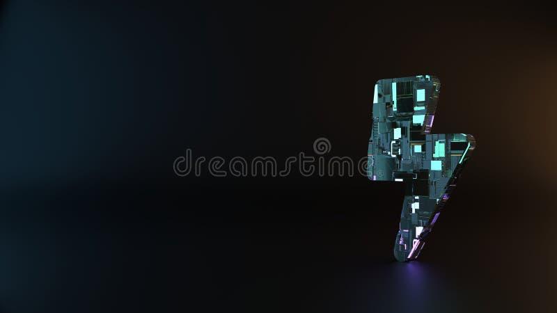 symbole en métal de la science-fiction de boulon d'icône de foudre rendre photos libres de droits