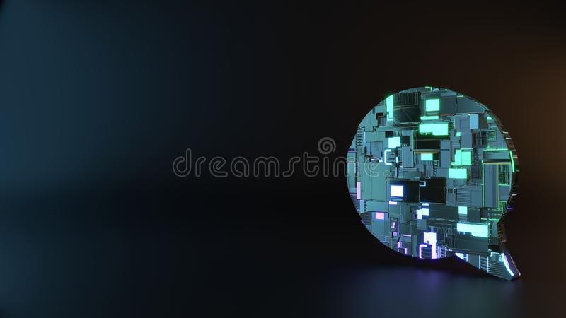symbole en métal de la science-fiction d'icône arrondie de bulle de causerie rendre photographie stock