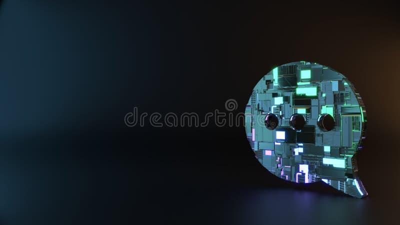 symbole en métal de la science-fiction d'icône arrondie de bulle de causerie rendre photos libres de droits