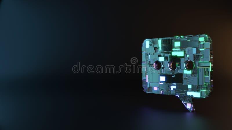 symbole en métal de la science-fiction d'icône arrondie de bulle de causerie rendre image libre de droits