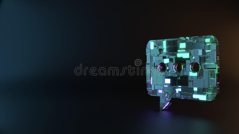 symbole en métal de la science-fiction d'icône arrondie de bulle de causerie rendre photo stock