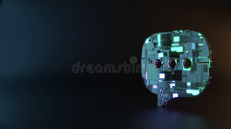symbole en métal de la science-fiction d'icône arrondie de bulle de causerie rendre image stock