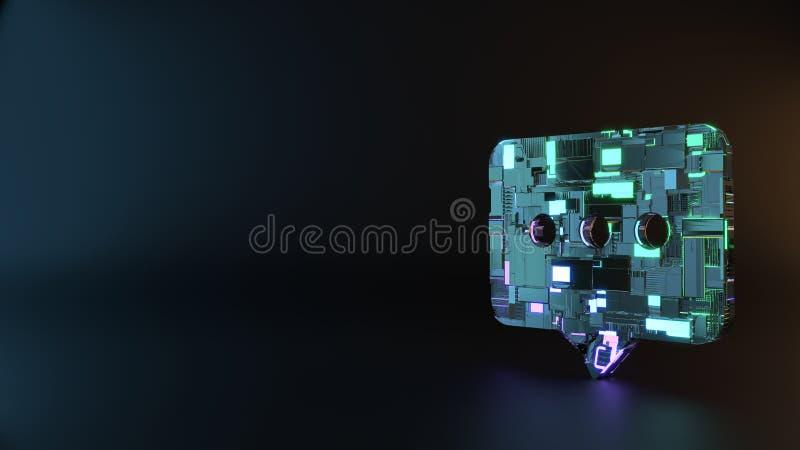 symbole en métal de la science-fiction d'icône arrondie de bulle de causerie rendre photographie stock libre de droits