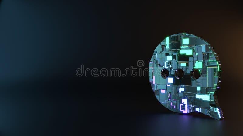 symbole en métal de la science-fiction d'icône arrondie de bulle de causerie rendre photo libre de droits