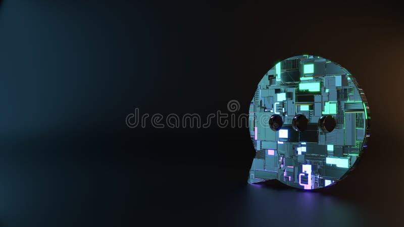 symbole en métal de la science-fiction d'icône arrondie de bulle de causerie rendre photos stock