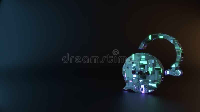 symbole en métal de la science-fiction d'icône arrondie de bulles de causerie rendre photographie stock libre de droits