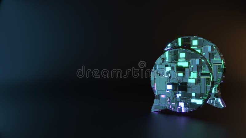 symbole en métal de la science-fiction d'icône arrondie de bulles de causerie rendre images libres de droits