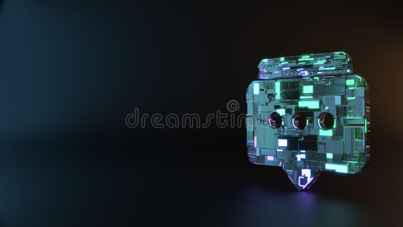 symbole en métal de la science-fiction d'icône arrondie de deux bulles de causerie rendre photographie stock libre de droits