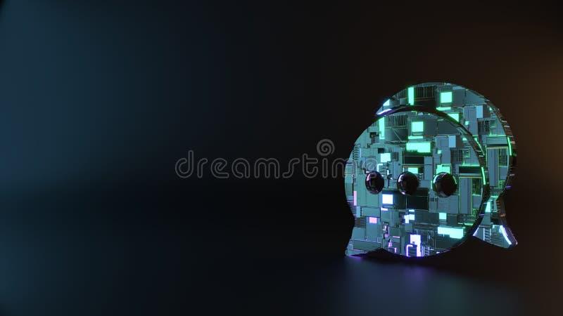 symbole en métal de la science-fiction d'icône arrondie de deux bulles de causerie rendre images stock