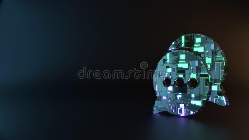 symbole en métal de la science-fiction d'icône arrondie de deux bulles de causerie rendre photo libre de droits