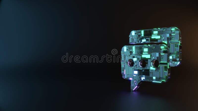 symbole en métal de la science-fiction d'icône arrondie de deux bulles de causerie rendre image stock