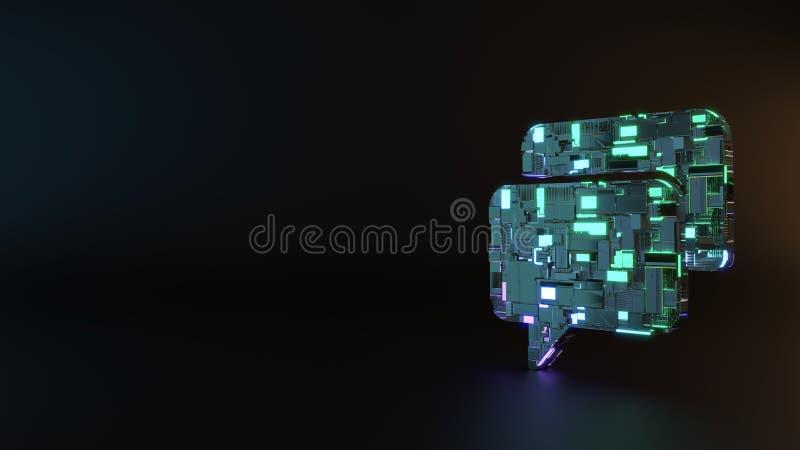 symbole en métal de la science-fiction d'icône arrondie rectangulaire de deux bulles de causerie rendre photographie stock libre de droits