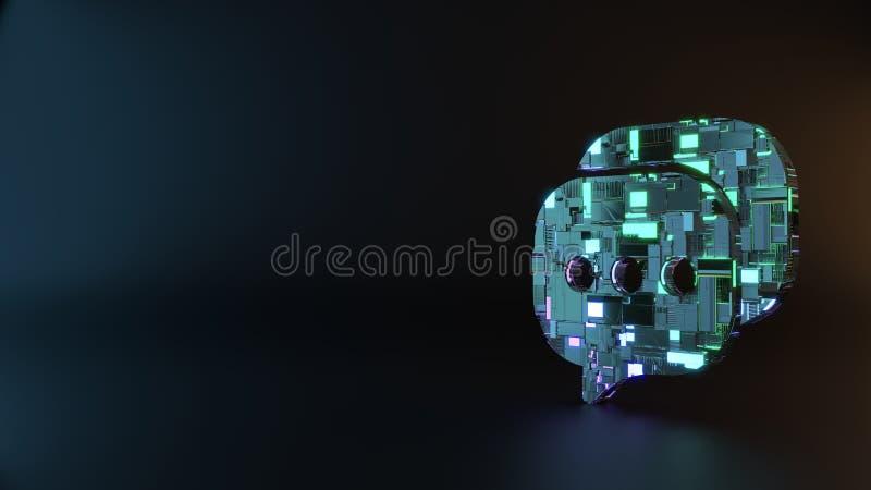 symbole en métal de la science-fiction d'icône de bulle de causerie arrondie par deux rendre photo stock