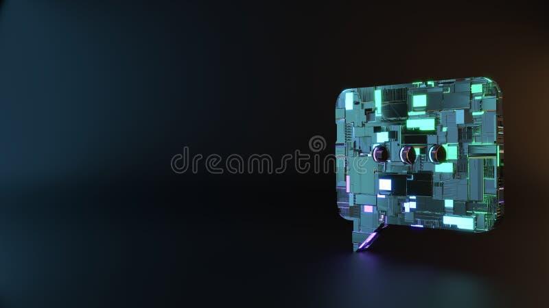 symbole en métal de la science-fiction d'icône de bulle de causerie rendre image libre de droits