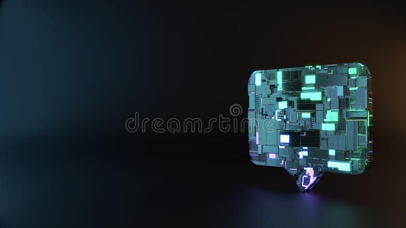 symbole en métal de la science-fiction d'icône rectangulaire de bulle de causerie rendre photos libres de droits