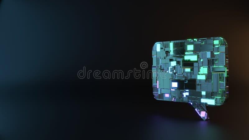symbole en métal de la science-fiction d'icône rectangulaire de bulle de causerie rendre image stock