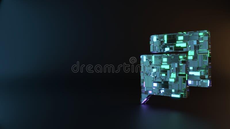 symbole en métal de la science-fiction d'icône rectangulaire de bulles de causerie rendre images libres de droits