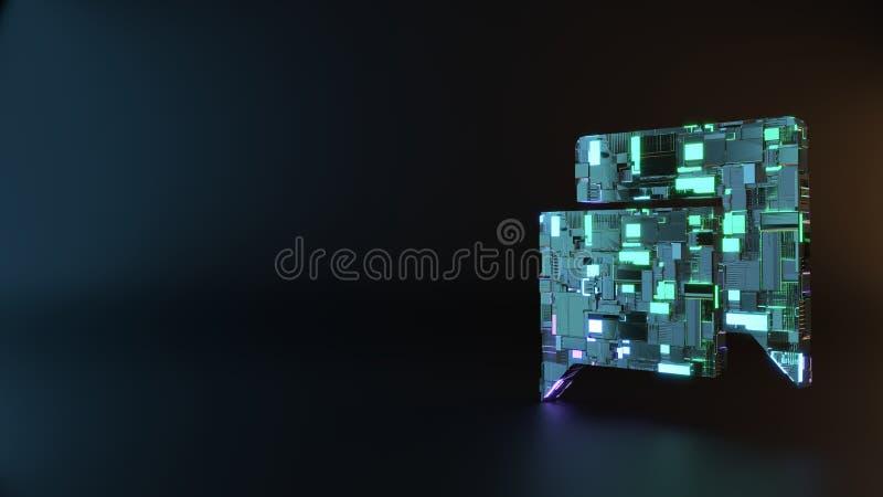 symbole en métal de la science-fiction d'icône rectangulaire de bulles de causerie rendre images stock