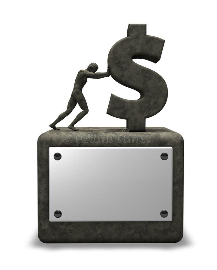 Symbole en pierre du dollar illustration stock
