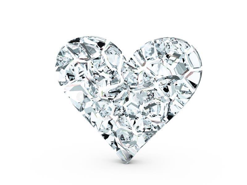 Symbole en verre cassé de coeur illustration libre de droits