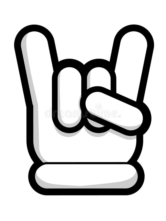 Symbole ENV de main de klaxons de diable illustration de vecteur