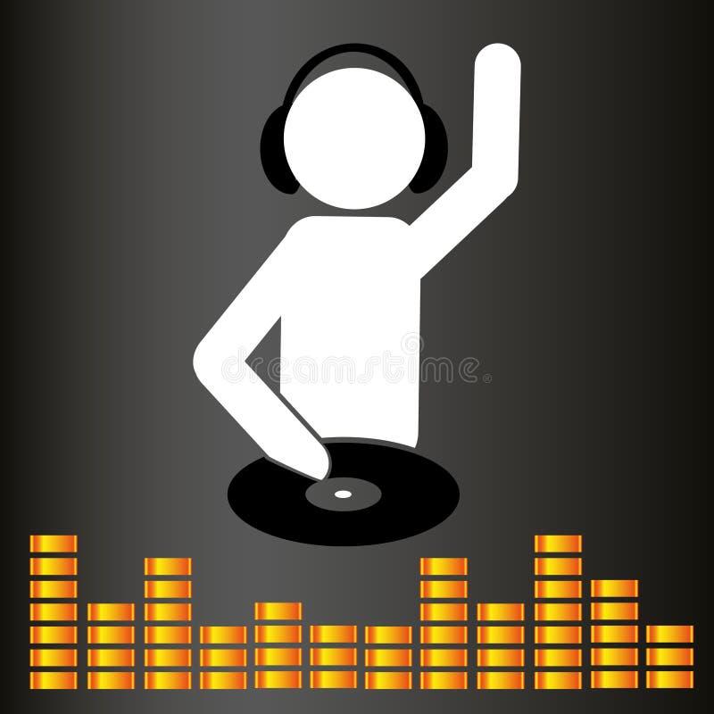 Symbole et égaliseur du DJ de club de musique illustration stock