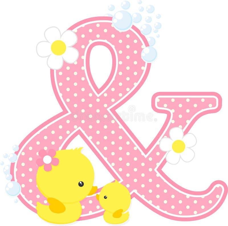 Symbole et avec le canard et la mère mignons de bébé illustration libre de droits