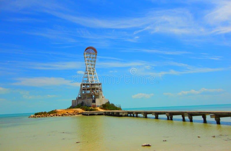 Symbole et point de repère d'architecture de phare d'été de plage de Chetumal Mexique image stock