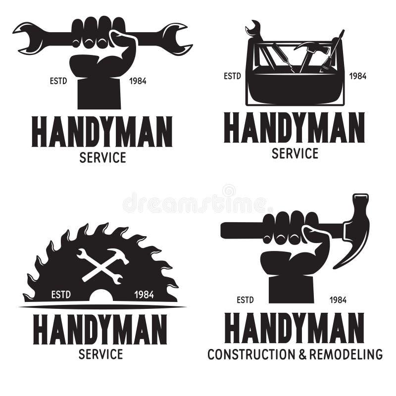 Symbole etykiet Handymana i elementy projektu Ilustracje narzędzi Elustracja rocznika dotyczącego stolarki ilustracja wektor